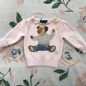 🐻Ralph Lauren Baby Girl Polo Bear Cotton Sweater